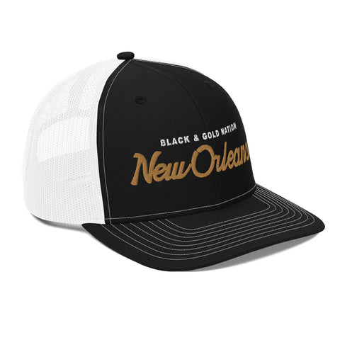 BLACK & GOLD NATION Trucker Hat - NOLA T-shirt, New Orleans T-shirt