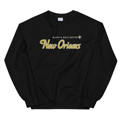 BLACK & GOLD NATION Unisex Sweatshirt - NOLA T-shirt, New Orleans T-shirt