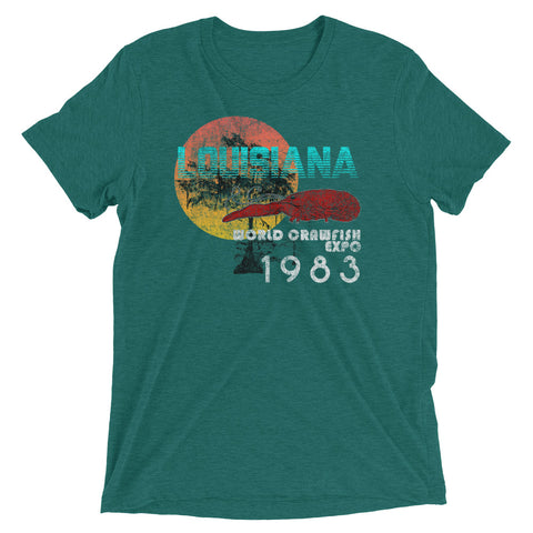 Louisiana World Crawfish Expo 1983 Unisex Tri-blend T-Shirt - NOLA REPUBLIC T-SHIRT CO.