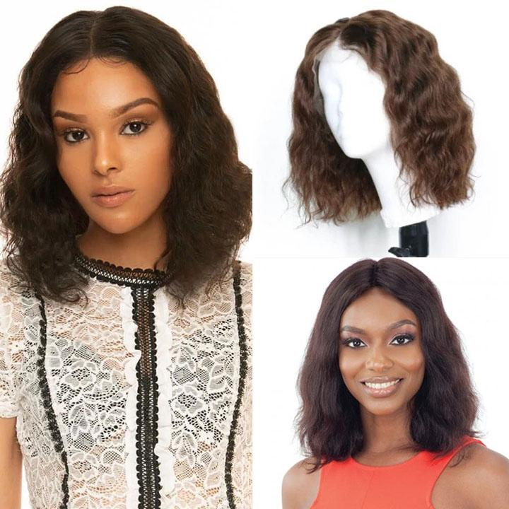 150% Density Natural Remy Hair 13*4 Lace Front Bob #3 Water Wave Wig 8""