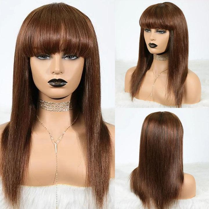 Chocolate Color Closure Wig with Blunt Bangs