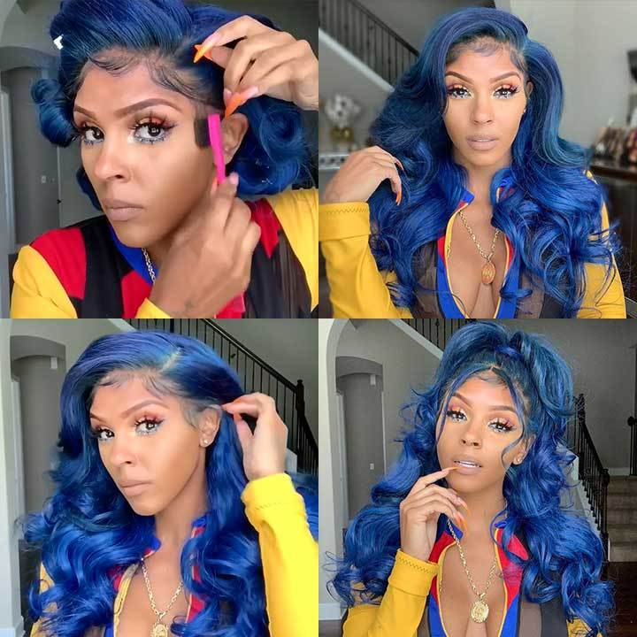 Jewelry blue wave wigs