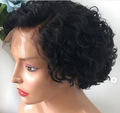 130% Density Natural Remy Hair 13*4 Lace Front Bob Black Curly Wig 8""