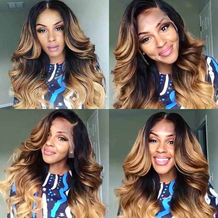 Black Gradient Champagne Body Wave Wig
