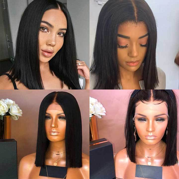 Short black bob wig—140%(Extra Thick As In Video)