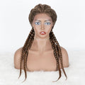 100% Hand Braided Cornrow Braids Wig With 4 Ponytails