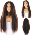 "HTF Middle part5""x1cm ear to ear 4# kinky straight wig 26"""