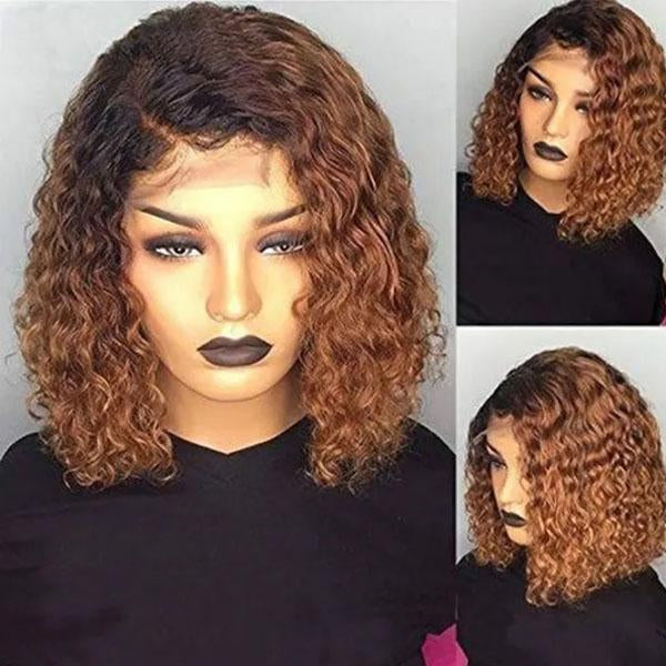130% Density Natural Remy Hair 13*4 Lace Front Bob 1b/30 Deep Wave Wig 8""