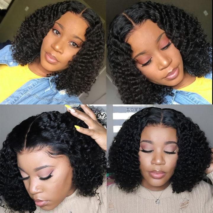 Celebrity Style Small Kinky Curl Lace Closure Wig