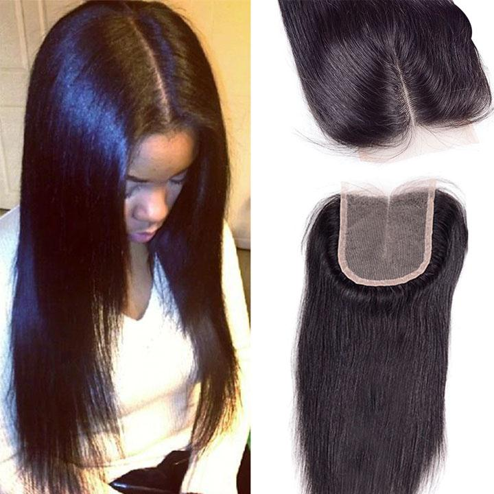 1Pc Straight Lace Closure——( Middle Part / Free Part / Three Part)