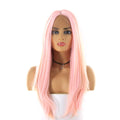 HTF cross lace(wide1.1cm+lace front1.5cm) P.ROSE GOLD straight wig 17""