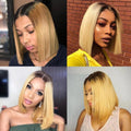 Color #4/27 Blonde Bob Wig Silky Blunt Cut Closure Wig