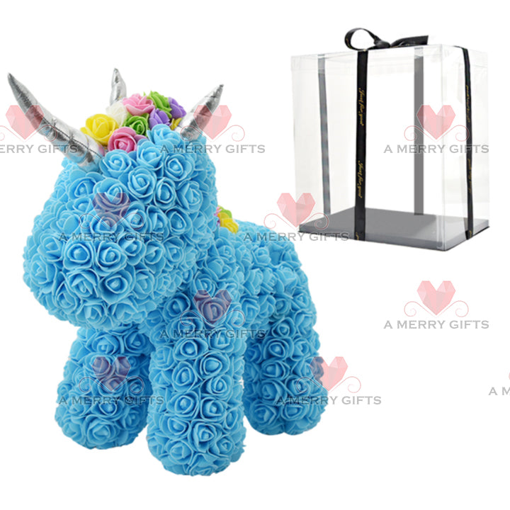 BLUE Luxury Rose Unicorn with Gifts Box & LED Lights