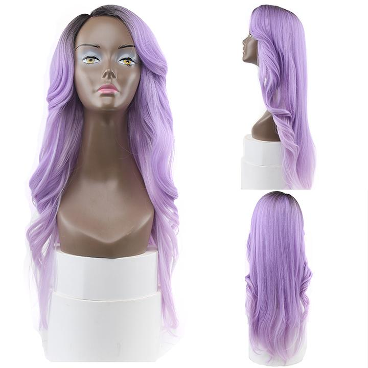 HTF invisible skin+Lace T4/PURPLE body wave wig 26〃