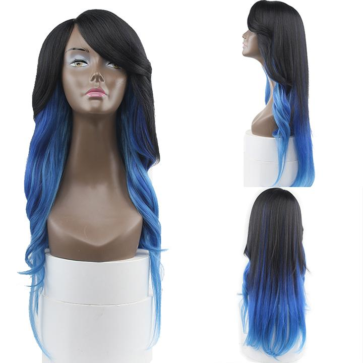 HTF invisible skin+Lace DXRBLUE body wave wig 26〃