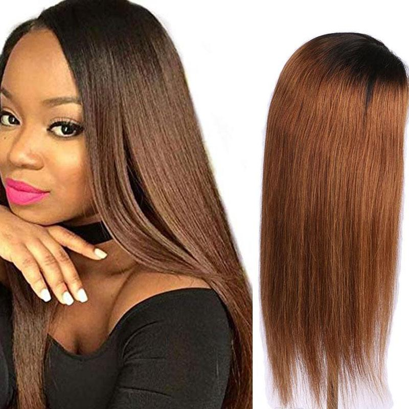 130% Density Natural Remy Hair 13*4 Lace Front 1b/30 Straight Wig 18""