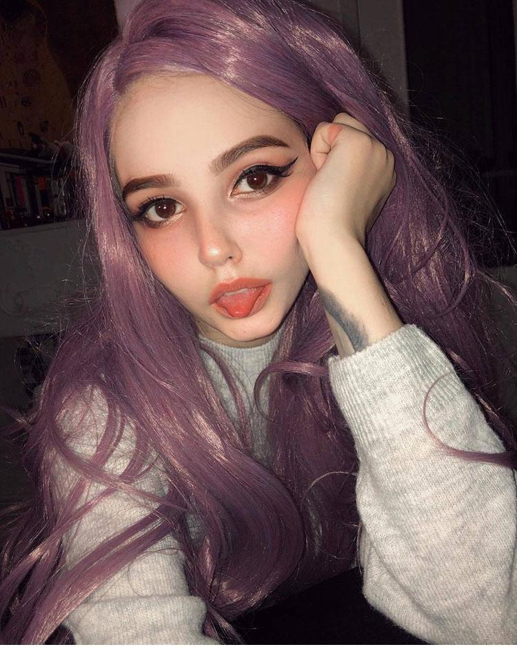 Fashion purple Wig