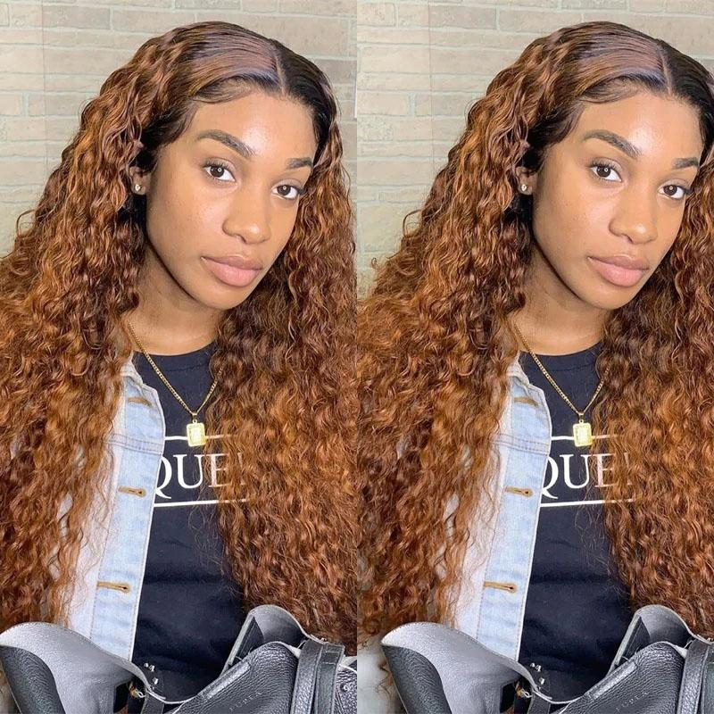 130% Density Natural Remy Hair 13*4 Lace Front #30 Deep Wave Wig 22""