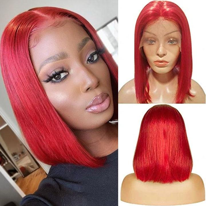 Red Bob Wig Lace Frontal Wig