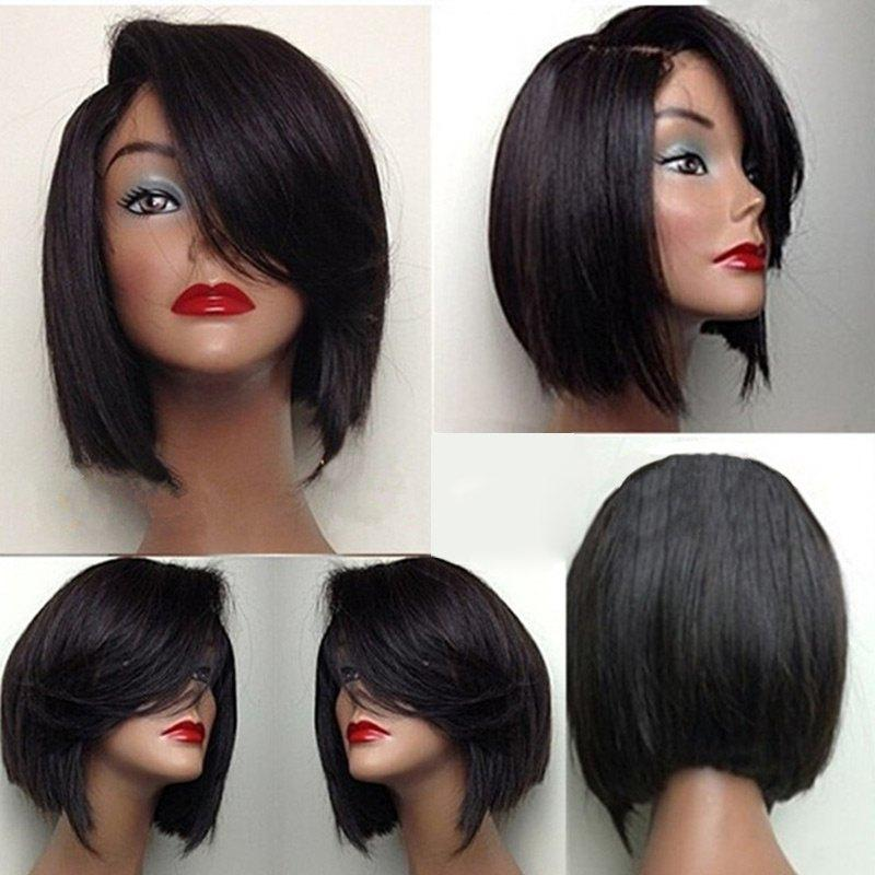 130% Density Natural Remy Hair 13*4 Lace Front Bob Black Body Wave Wig 8""