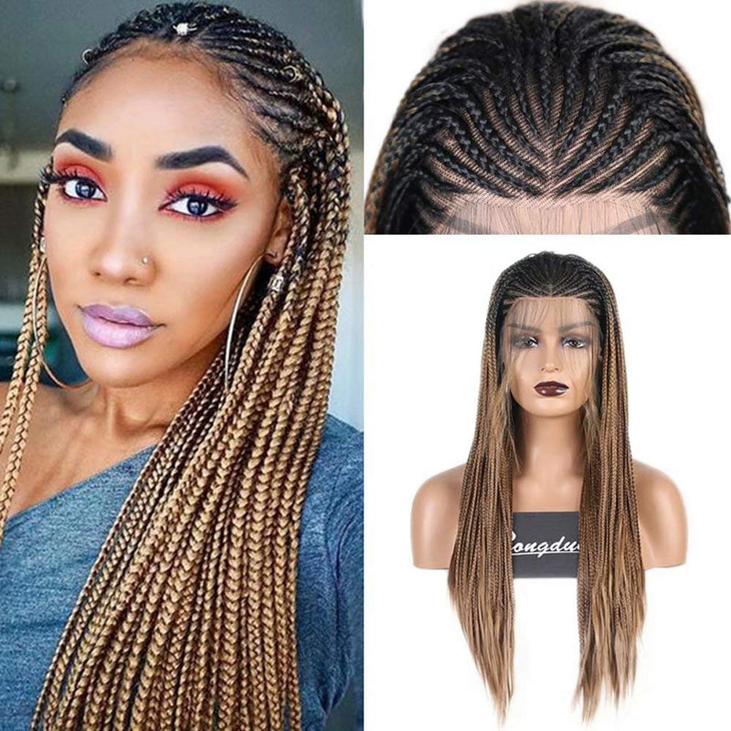 "18"" Brown Braided Wigs for Black Women"