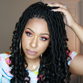 100% Hand-Braided Black Faux Locs Wig