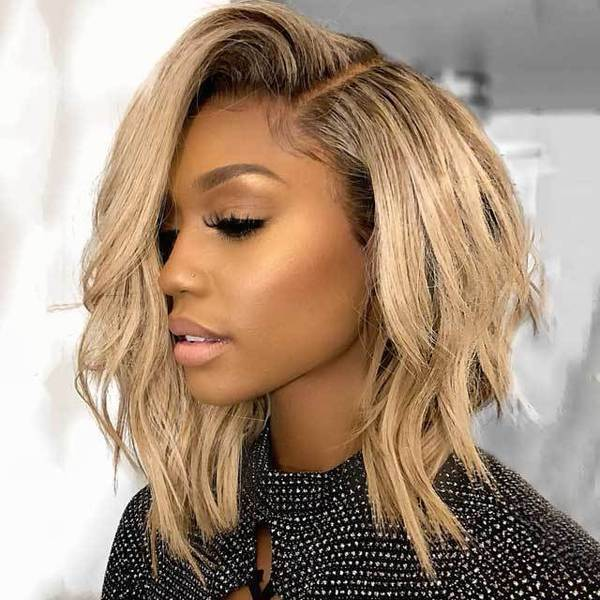 short blonde  curly wig