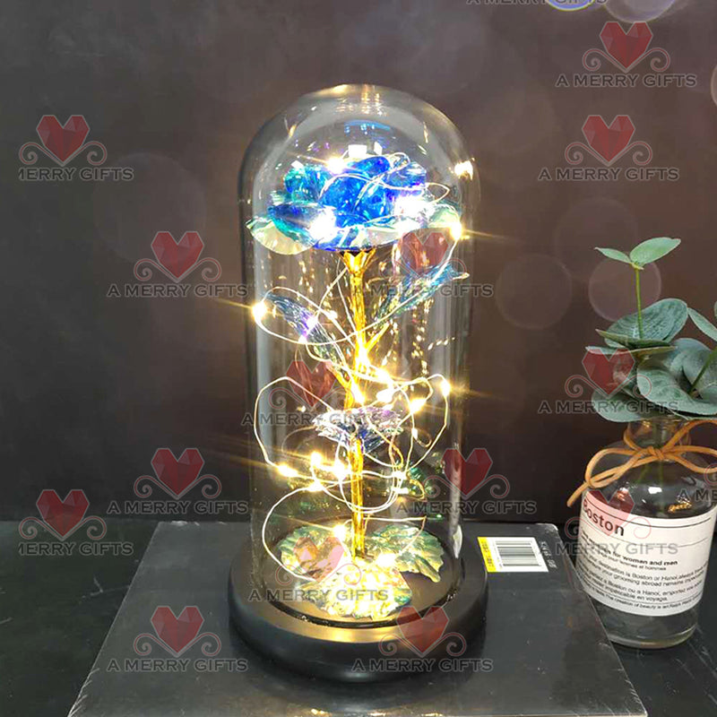 BLUE Luxury Forever Galaxy Enchanted Rose with LED Lights