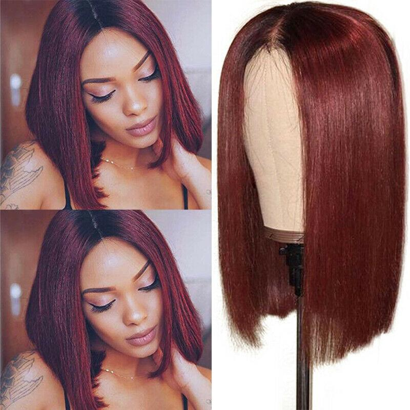 130% Density Transparent Lace Front 13*6 Bob 1b/99J Straight Wig 8""
