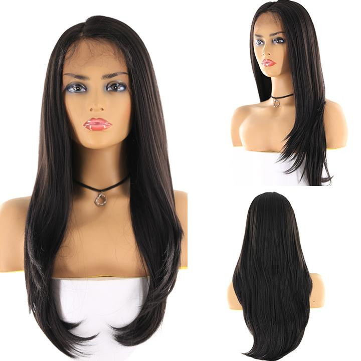 "HTF 4""x13""lace front 1B straight wig 24""-25"""