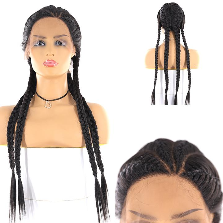 HTF L part ear to ear three part lace front 1B braids wig 28""