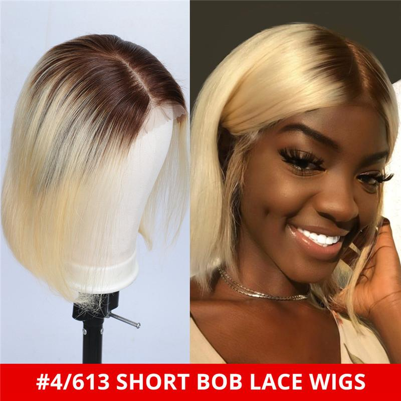 150% Density Natural Remy Hair 13*4 Lace Front Bob #4/613 Straight Wig 8""