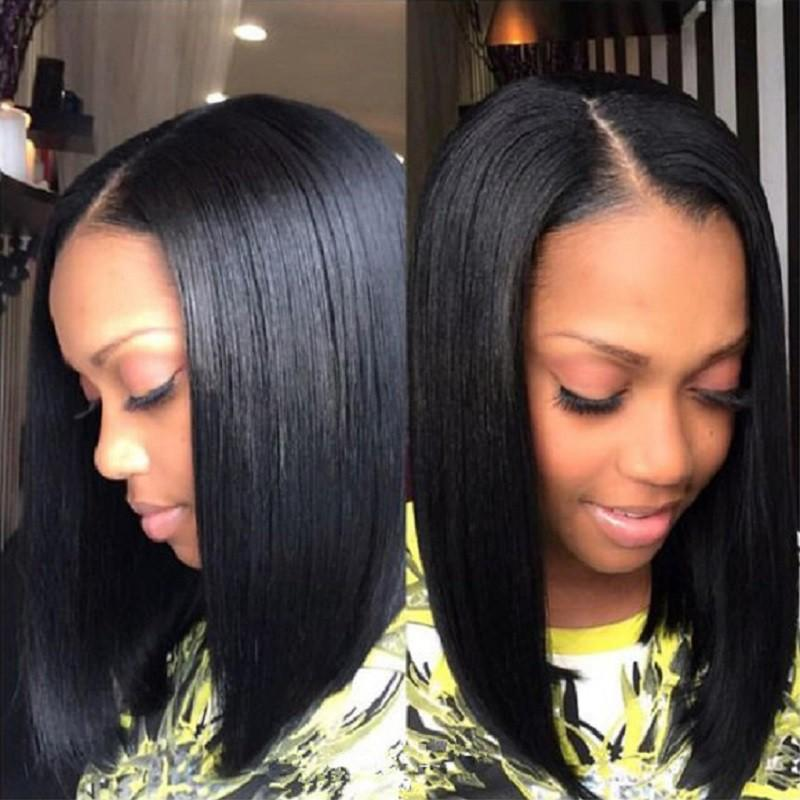 Bob Wig Human Hair Closure Wig Silky Blunt Cut