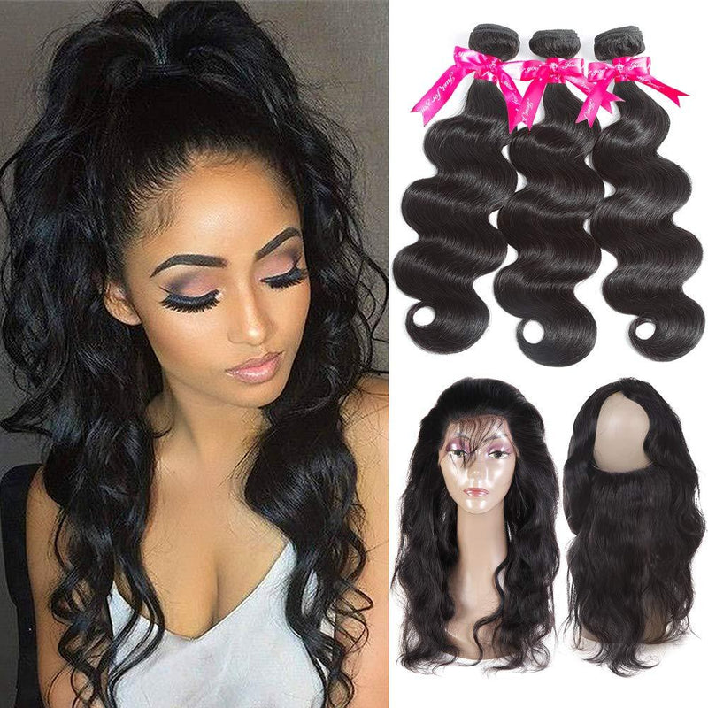 1Pc Pre Plucked 360 Lace Frontal With 2Bundles——(Body Wave / Straight / Big Curl / Deep Wave)