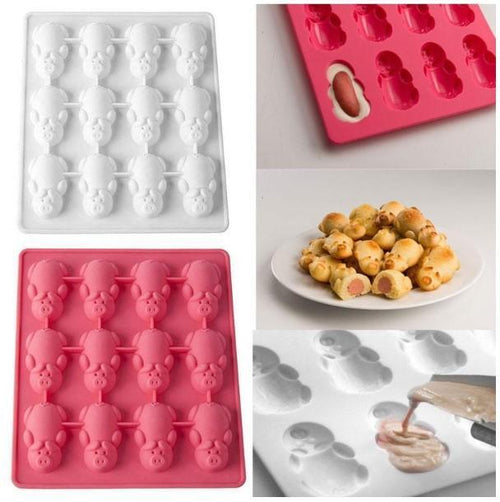 Non Stick 24 Little Pigs in a Blanket Silicone Baking Mold Muffin Cupcakes Kits