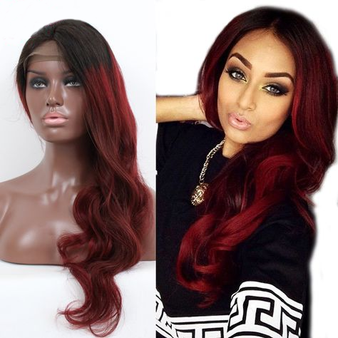 130% Density Natural Remy Hair 13*4 Lace Front 1b/red Body Wave Wig 20""
