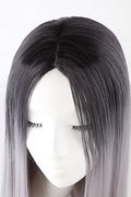 Bigbigwig Long Straight Hair Two Tone Black and Gray Wig