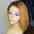 130% Density Natural Remy Hair 13*4 Lace Front Bob 4/27# Straight Wig 8""