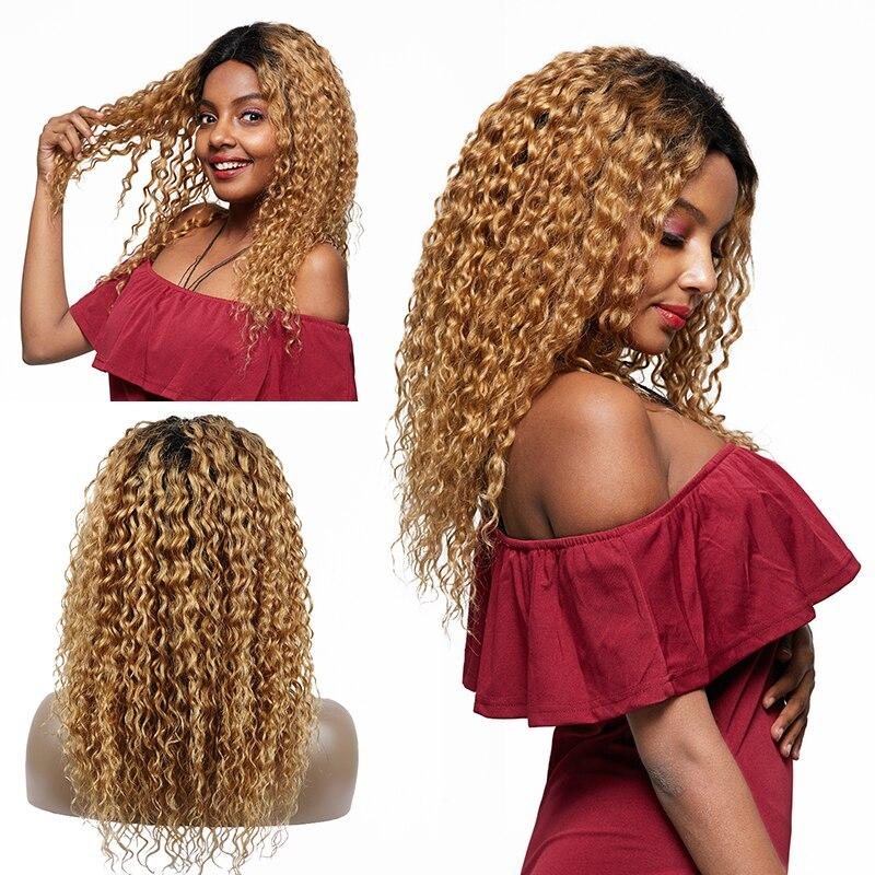 150% Density Natural Remy Hair 13*4 Lace Front 1b/27 Curly Wave Wig 16""