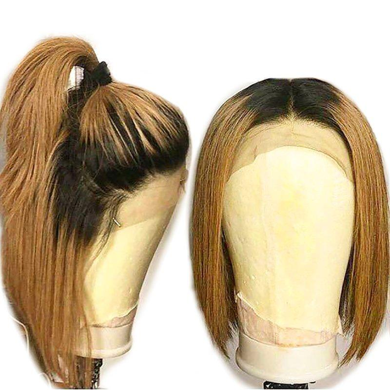 130% Density Natural Remy Hair 13*4 Lace Front Bob 1b/27 Straight Wig 8""