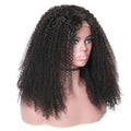 130% Density Natural Remy Hair 13*4 Lace Front Black Kinky Curly Wig 18""