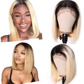 130% Density Natural Remy Hair 13*4 Lace Front Bob 1b/613 Straight Wig 10""