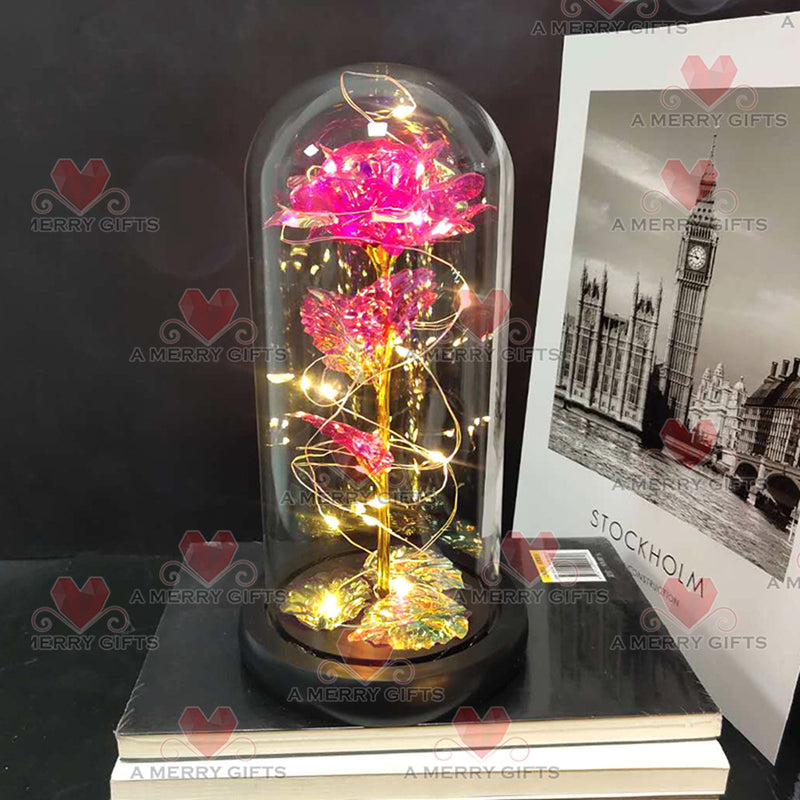 PINK Luxury Forever Galaxy Enchanted Rose with LED Lights