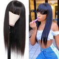 Full Long Straight Bang Human Hair Wig