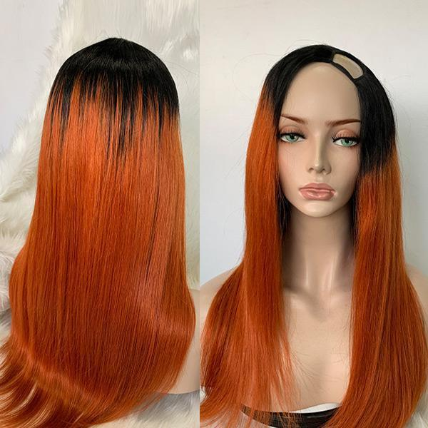 Fall Color U Part Wig Affordable Human Hair Wig