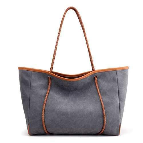 Gray Women Canvas Minimalist Pastel Tote Bag