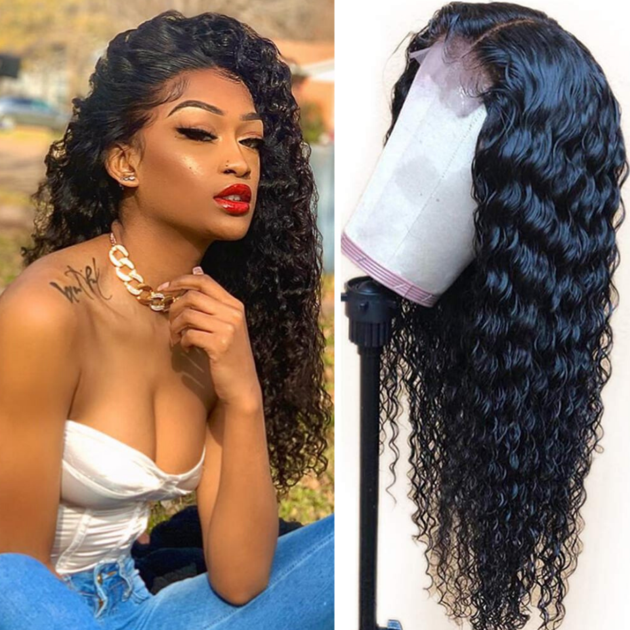 130% Density Natural Remy Hair 13*4 Lace Front Black Water Wave Wig 24""