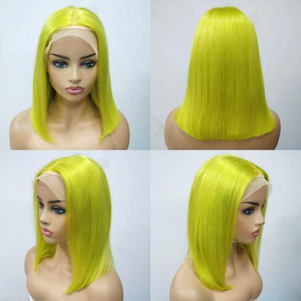Lime Green Bob Wig Lace Frontal Wig