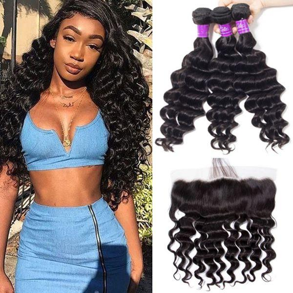 Pre Plucked Lace Frontal With 3Bundles Best Virgin Hair Weave——Body Wave/Straight/Big Curl/Deep Wave