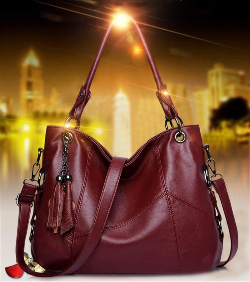 Women Leather  Messenger Handle Tote Shoulder Bags Designer Crossbody